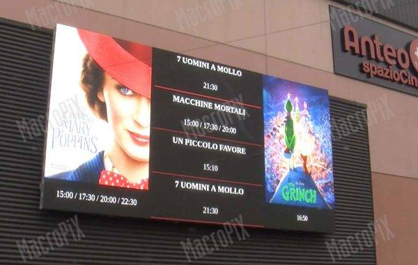 Led display per cinema Anteo | Treviglio | Macropix